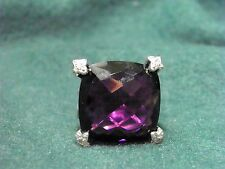 David  Yurman SS 20MM Amethyst Point on Cushion Ring