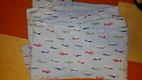 "Pottery Barn Kids ""Blue Airplanes"" Full Flat Sheet"