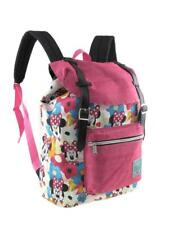 "New Disney Minnie Mouse Allover Pattern Preppy Vintage Style 16"" School Backpack"