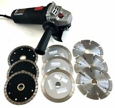 "4.5'' angle grinder with (9) 4"" diamond blades - stone, masonry, tile, granite"