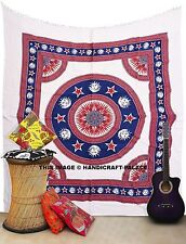 Indian Sun Moon Mandala Printed Tapestry Art Queen Bedcover, Wall Hanging Decor