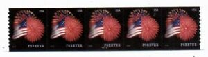 US #4854, Forever Flag stamp, Plate Number Strip of 5 from 2014,Plate P2222, MNH