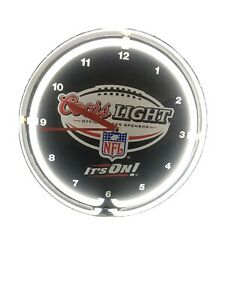 """19"""" Coors Light Beer Clock with White Neon Light. Great for game room or bar!"""