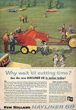 COLOR 1957 NEW HOLLAND HAYLINER 68 HAY BALER AD ADVERTISEMENT