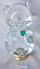 "Lamp Finial  LARGE Fenton Teddy Bear crystal glass brass 4""h x 2 1/4""w  RA"