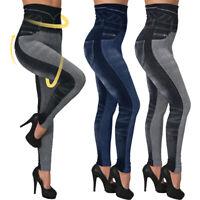 Femme Jeans Leggings Taille Hauts Moulante Denim Look Crayon Pantlon Elastique
