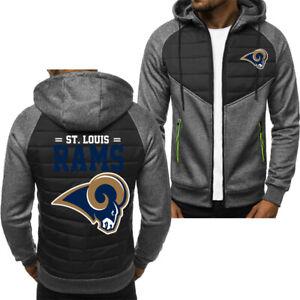 Los Angeles Rams Fans Hoodie Sporty Jacket Zip up Coat Autumn Sweater Tops