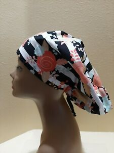 Peach and Gold Roses Women's  Euro/Chef Surgical Scrub Hat/Cap Handmade
