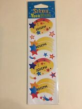 """New """"Joseph"""" Sticker Your Name stickers with Stars - package of 12 stickers"""