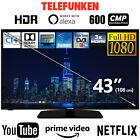 """Telefunken 43"""" Zoll Full HD Smart TV Fernseher Prime Netflix YouTube 108cm HDR10"""