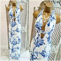 BOOHOO UK 10  BNWT Blue White Floral Halter Neck Slinky Stretch Boho Maxi Dress