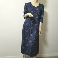 April Cornell Angelina Dress Size S Small Empire Waist 3/4 Sleeves Navy Floral