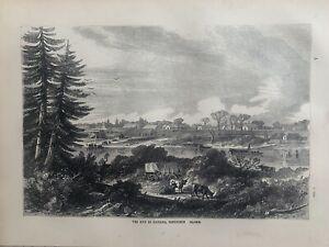 1870  View Of Victoria, Vancouver Island Canada Original Antique Print