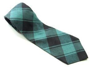 GAP Neck Tie GREEN Black PLAID 100% COTTON Necktie Tartan Style USA
