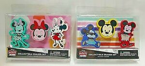 Disney Rubber Erasers Mickey & Minnie Mouse Cartoon Collectible  Two Box Sets