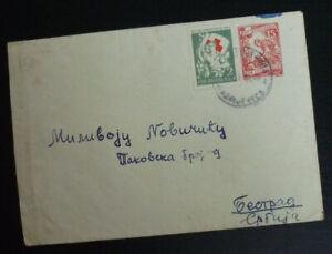Yugoslavia 1955 Red Cross Rotes Kreuz Stamp on Cover to Belgrade Serbia A3