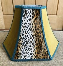 Lampshade - Leopard Print Mustard Velvet Bell Vintage / Boho style, handcrafted.