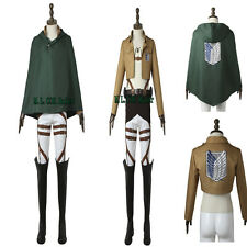 New Attack on Titan Eren Jager Cosplay Costume Cloak Belts Custom Size Unisex