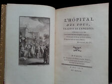 RARE ancien LIVRE L'Hôpital des Fous de G. WALSH Sébastien Jorry 1745 ill. EISEN