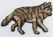 Iron-On Applique Embroidered Patch Wild Forest Brown Wolf Walking 695671A