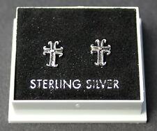 STERLING SILVER 925, STUD EARRINGS,  CROSS DESIGN, BUTTERFLY BACKS,  STUD 175