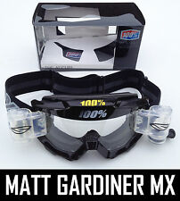 100% PERCENT ACCURI MX MOTOCROSS GOGGLES PURE BLACK SMITH ROLL OFF CANISTERS tvs
