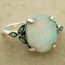 WHITE LAB OPAL ANTIQUE VICTORIAN DESIGN 925 STERLING SILVER RING SIZE 7,   #581