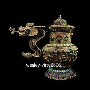 Tibet Red Copper Inlay Turquoise eight treasures Dragon Teapot Vase Pot Bottle