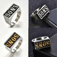 Wholesale Sons Of Anarchy Stainless Steel Rings Men Carved Rock Ring Size 8-14