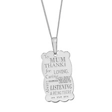 """Beautiful Genuine 925 Sterling Silver MUM Heartfelt Thank you Love Necklace 18"""""""
