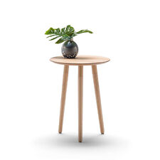 Scandinavian Round Tray Side Table Bedside Light Wood Tone Timber Living Room