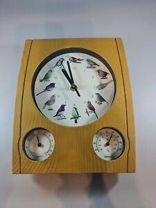 Bird Song Wall Clock & Barometer Rare . Singing Birds