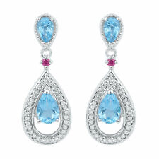10kt White Gold Womens Oval Lab-Created Blue Topaz Diamond Dangle Earrings