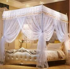 Mosquito Netting Curtain Canopy Dome 4 Corner Post White Full Size Bedroom Decor