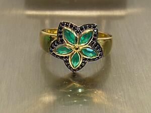 925 Silber Ring  Smaragd & Spinell Gr 20