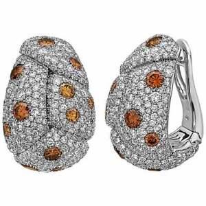 Round Cut Beautiful Orange Citrine 12.25TCW Pave White CZ Huggies Stud Earrings