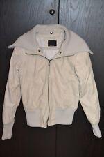 Damen Lederjacke, Kunstlederjacke, Jacke, beige, Größe M, großer Kragen