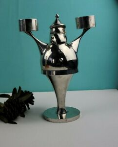 Pottery Barn - Santa Claus -Tealight's Christmas Candle Holder - Silver Color