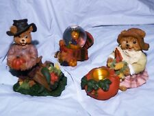 FALL AUTUMN THANKSGIVING HARVEST BEARS CANDLE HOLDER AND WATERGLOBE TURKEY