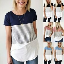 UK Summer Womens Striped Tops Blouse Ladies Short Sleeve T-Shirt Plus Size 6-18