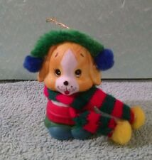 "Vintage 3"" Puppy Dog Ceramic Christmas Tree Ornament Crocheted Scarf"