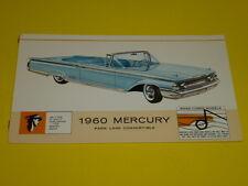 1960 MERCURY PARK LANE CONVERTIBLE POSTCARD, DEALER ADVERTISEMENT