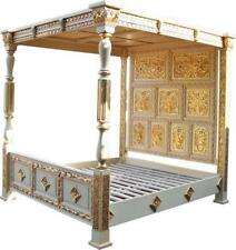 "Huge Tudor Mahogany White & GoldLeaf Carved Four Poster 4'6"" Double Bed"