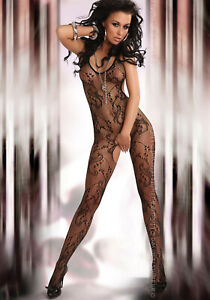 Eden Sexy Patterned Mesh Crotchless Black Bodystocking One Size