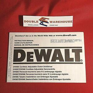 DeWALT Instruction Manual 390933 DW995 DW997 Cordless Adjustable Clutch Drill