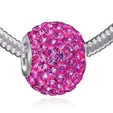 MATERIA XXL Kristall Bead Kettenanhänger 925 Silber Strass pink magenta 12x16mm