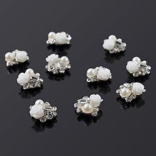 10pcs Glitter Rhinestone Manicure DIY White Rose 3d Alloy Jewelry Nail Art Decor