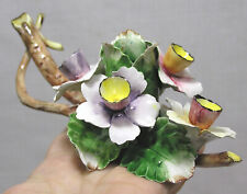 Vtg Capo Di Monte Jonquils Floral Candle Holder Gorgeous! Italy