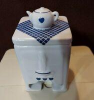 Tea Bag Holder Dispenser Blue and White Teapot on lid