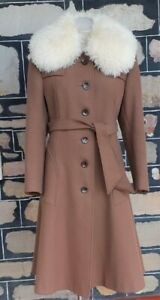 Coat, Wool Blend with Faux Fur lambswool collar, Camel, size 16